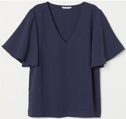 Блузка H&M 0637911 38 Темно-синяя (6666000063021) от Rozetka