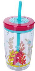 Акция на Стакан детский с трубочкой Сontigo Floating Straw Tumbler 470 мл Розовый (1000-0773) от Rozetka