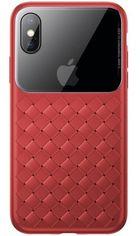 Акция на Чехол Baseus для iPhone XS Max Glass & Weaving Red от MOYO