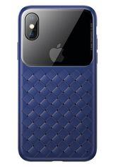 Акция на Чехол Baseus для iPhone XS/X Glass & Weaving Blue от MOYO