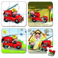 Акция на Набор из 4 пазлов Janod Лео и его пожарная машина (J02882) от MOYO