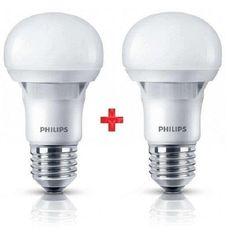 Комплект ламп светодиодных Philips LEDBulb E27 5-40W 230V 3000K A60 Essential (1+1) от MOYO