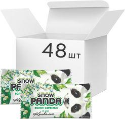 Акция на Упаковка салфеток влажных Снежная Панда для рук Ландыш 48 пачек по 15 шт (4823019010688) от Rozetka