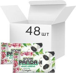 Акция на Упаковка салфеток влажных Снежная панда для рук Сакура 48 пачек по 15 шт (4823019010701) от Rozetka