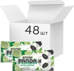 Акция на Упаковка салфеток влажных Снежная панда для рук Лайм с антимикробным действием 48 пачек по 15 шт (4823019010671) от Rozetka