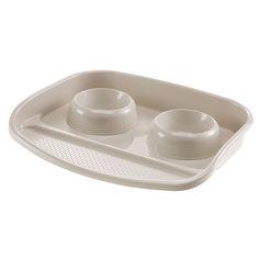 Пластиковый поднос с мисками для кошек и собак Ferplast Lindo 2х0.6 л Серый (71911021_Серый) от Rozetka