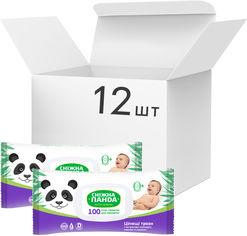 Акция на Упаковка салфеток влажных для младенцев Снежная Панда Целебные травы 12 пачек по 100 шт (4820183970428) от Rozetka