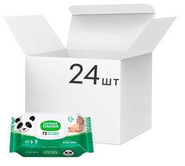 Акция на Упаковка влажных салфеток Снежная панда Алоэ для младенцев без запаха 24 пачки по 72 шт (4820183970404) от Rozetka