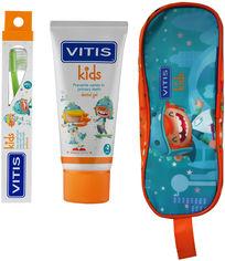 Акция на Набор Dentaid Vitis Kids Гель-паста 50 мл + щетка + пенал (8427426058606) от Rozetka