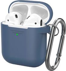 Классический Силиконовый чехол AhaStyle с карабином для Apple AirPods Navy blue (AHA-01060-NBL) от Rozetka