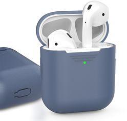 Акция на Классический Силиконовый чехол AhaStyle для Apple AirPods Navy blue (AHA-01020-NBL) от Rozetka