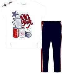 Акция на Костюм (футболка + леггинсы) Mayoral Mini Girl 3707-89 3A Синий (2903707089034) от Rozetka