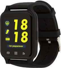 Акция на Смарт-часы Atrix X6 IPS Pulse and AD Black от Rozetka