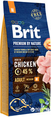 Акция на Сухой корм Brit Premium Adult M для взрослых собак средних пород со вкусом курицы 15 кг (8595602526376) от Rozetka