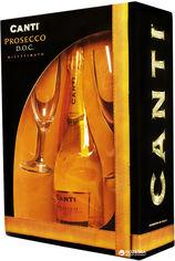 Акция на Вино игристое Canti Prosecco Millesimato белое экстра-сухое 0.75 л 11% + 2 бокала в подарочной упаковке (8005415050703) от Rozetka