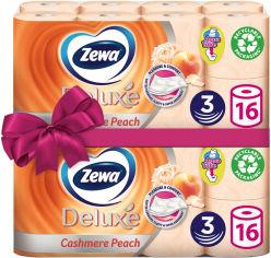 Туалетная бумага Zewa Deluxe аромат персик трехслойная 16 рулонов +16 рулонов (7322540201192) от Rozetka