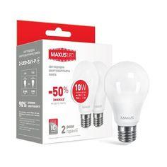 Комплект светодиодных ламп MAXUS A60 10W 3000K 220V E27 (2-LED-561-P) от MOYO