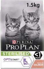 Сухой полнорационный корм Purina Pro Plan с лососем для стерилизованных котят 1.5 кг (7613037684070) от Rozetka