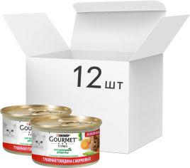 Упаковка влажного корма Purina Gourmet с говядиной и морковью 12 шт по 85 г (7613038042220) от Rozetka