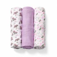 Многоразовая пеленка BabyOno, бамбуковое волокно, 70х70 см, фиолетовый с белым, 3 шт. (397/03) от Pampik