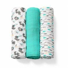 Многоразовая пеленка BabyOno, бамбуковое волокно, 70х70 см, бирюзовый с белым, 3 шт. (397/06) от Pampik