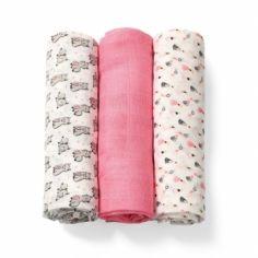 Многоразовая пеленка BabyOno, бамбуковое волокно, 70х70 см, розовый с белым, 3 шт. (397/01) от Pampik