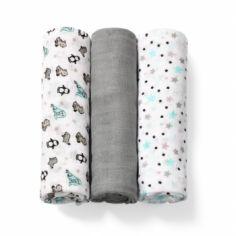 Многоразовая пеленка BabyOno, бамбуковое волокно, 70х70 см, серый с белым, 3 шт. (397/02) от Pampik