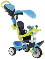 Акция на Велосипед детский Smoby Toys Беби Драйвер металлический с козырьком и багажником голубо-зеленый (741200) (3032167412003) от Rozetka