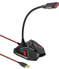 Акция на Микрофон Promate Streamer LED, USB Maroon (streamer.maroon) от Rozetka