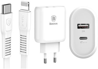 Baseus Usb Wall Charger Bojure Series USB-C Quick charge 32W White with USB-C to Lightning Cable (TZTUN-BJ02) от Stylus