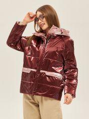 Акция на Куртка Mila Nova К-151 46 Бордовая с розовым (2000000045092) от Rozetka