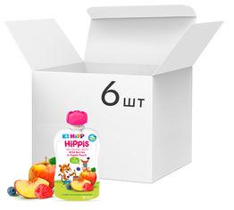 Акция на Упаковка фруктового пюре HiPP органического Яблоко-Персик-Черника-Малина с 4 месяцев 100 г х 6 шт (9062300433774) от Rozetka