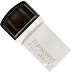 Transcend JetFlash 890 64GB USB 3.1 / Type-C Silver (TS64GJF890S) от Rozetka