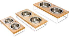 Подставка на две миски для собак и кошек Harley and Cho S 0.45 л 7 см Натуральная с белым (3300017) от Rozetka