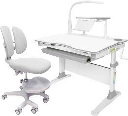 Акция на Комплект Evo-kids Evo-30 G + Y-408 G стол + лампа + кресло Mio-2 Белый/Серый от Rozetka