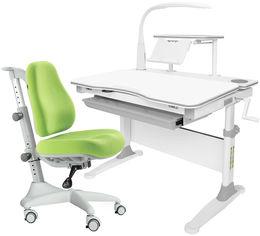 Акция на Комплект Evo-kids Evo-30 G + Y-528 KZ стол + лампа + кресло Match gray base Белый/Зеленый от Rozetka