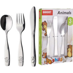 Набор детских столовых приборов BANQUET Животные 3 пр. (41WF8503PCS) от Foxtrot