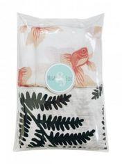 Многоразовая пеленка Mum&Fun Листики и рыбки, муслин, 120х120 см, белый, 2 шт. от Pampik