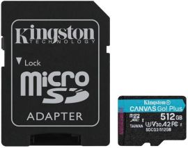 Карта памяти Kingston microSDXC 512GB Canvas Go Plus 170R A2 U3 V30 + Адаптер от MOYO