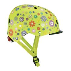 Защитный шлем Globber Цветы зеленый с фонариком  (507-106) от Будинок іграшок