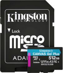 Kingston MicroSDXC 512GB Canvas Go! Plus Class 10 UHS-I U3 V30 A2 + SD-адаптер (SDCG3/512GB) от Rozetka