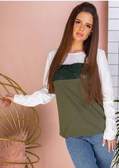 Блузка Remise Store V306 44 (M) Оливковая с белым (2000000384061) от Rozetka