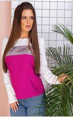 Блузка Remise Store V306 46 (L) Малиновая с белым (2000000384023) от Rozetka