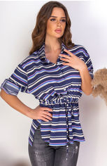 Блузка Remise Store V310 48 (XL) Синяя с белым (2000000384344) от Rozetka