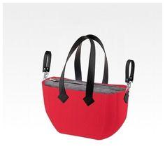Сумка MyMia красный корпус/ серая подкладка/ черные кожаные ручки, фиксаторы, ремни на коляску (NV8801C/02G/23B/13B/33B) от MOYO