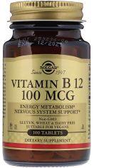 Витамины Solgar Витамин В12 Цианокобаламин Vitamin B12 100 мкг 100 таблеток (033984031807) от Rozetka