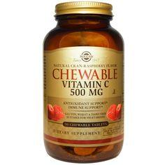 Витамин С (Vitamin C) с малиновым вкусом Солгар №90 от Medmagazin