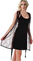 Акция на Ночная рубашка + накидка Miorre 001-015062 M/L Черные (8680570260763) от Rozetka
