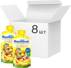 Упаковка фруктового пюре Hame Хаманек яблоко с персиком и бананом с 4 месяцев 120 г х 8 шт (8595139783945) от Rozetka