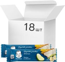 Упаковка фруктово-злаковых батончиков Gerber с бананом и яблоком для детей с 12 месяцев 25 г х 18 шт (7613033768170) от Rozetka